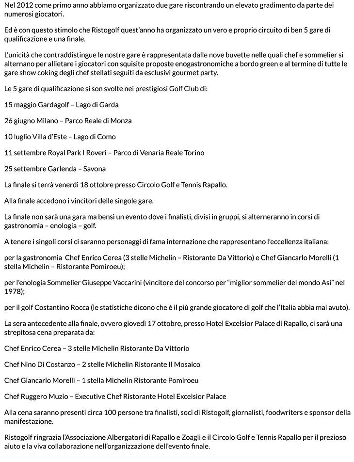 RISTOGOLF, CUCINA E SPORT PROTAGONISTE A CIRCOLO GOLF E TENNIS R