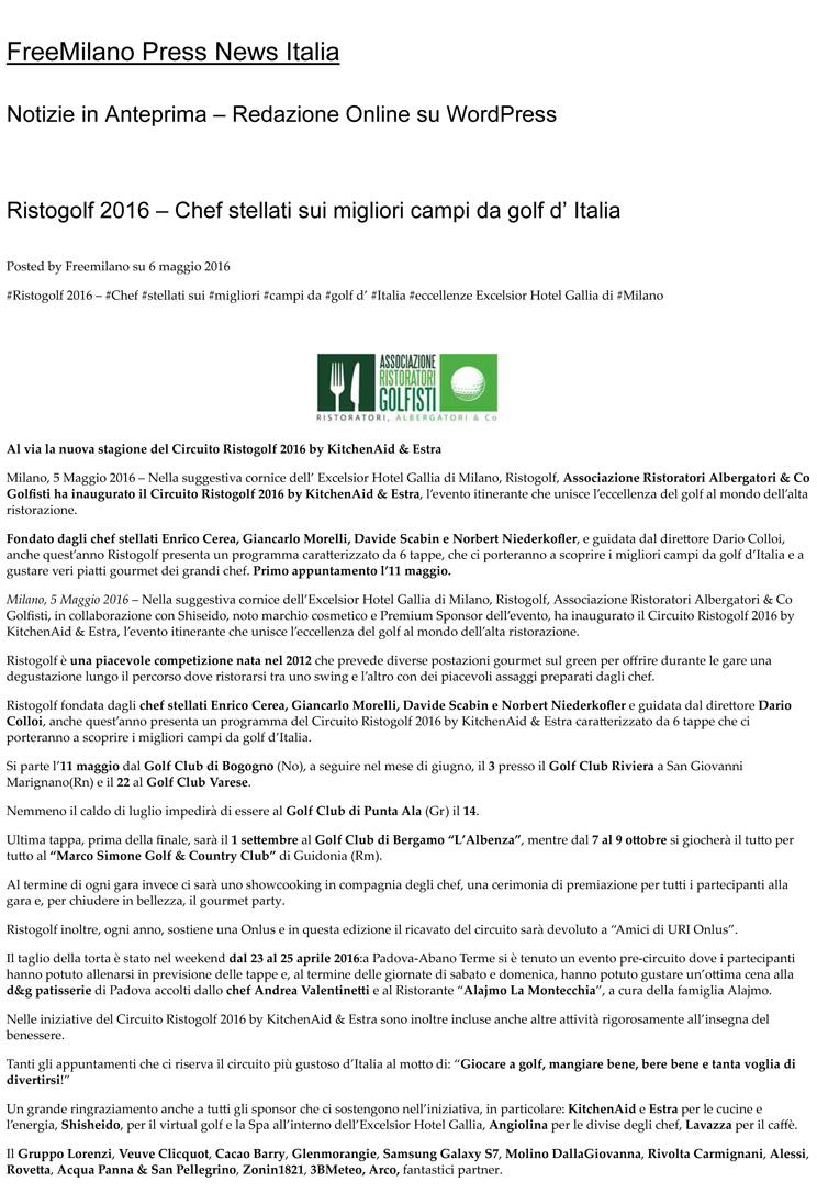 Ristogolf 2016 – Chef stellati sui migliori campi da golf d'Italia