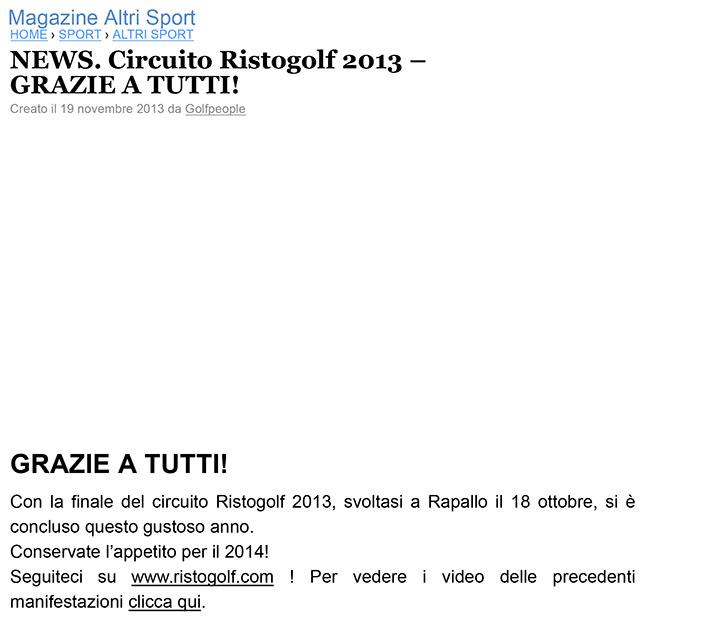 NEWS. Circuito Ristogolf 2013 – GRAZIE A TUTTI! - Paperblog