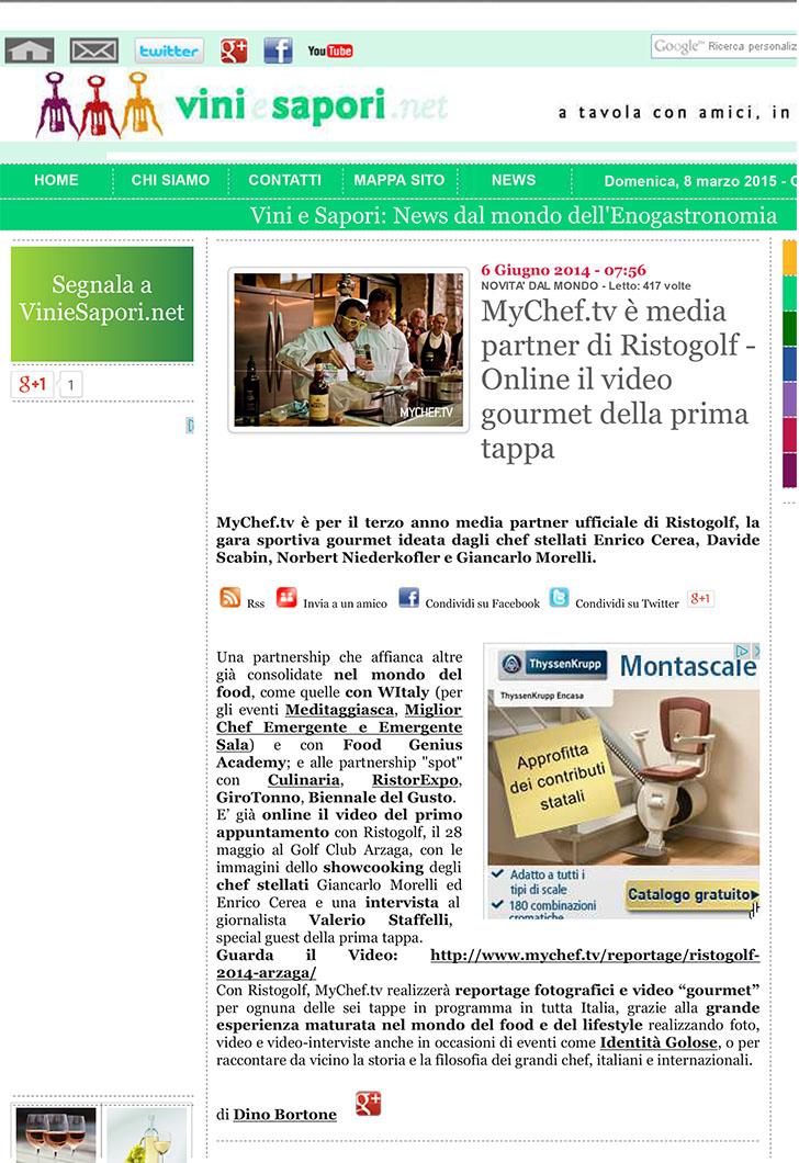 MyChef.tv è media partner di Ristogolf - Online il video gourme