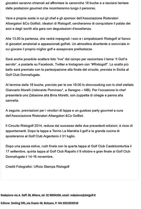 Secondo appuntamento con Ristogolf: golf e cucina stellata in sc
