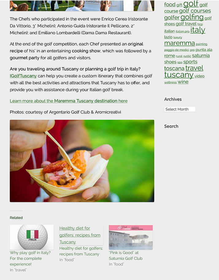 Golf gourmet party with wine tasting & cooking show | IGolfTusca