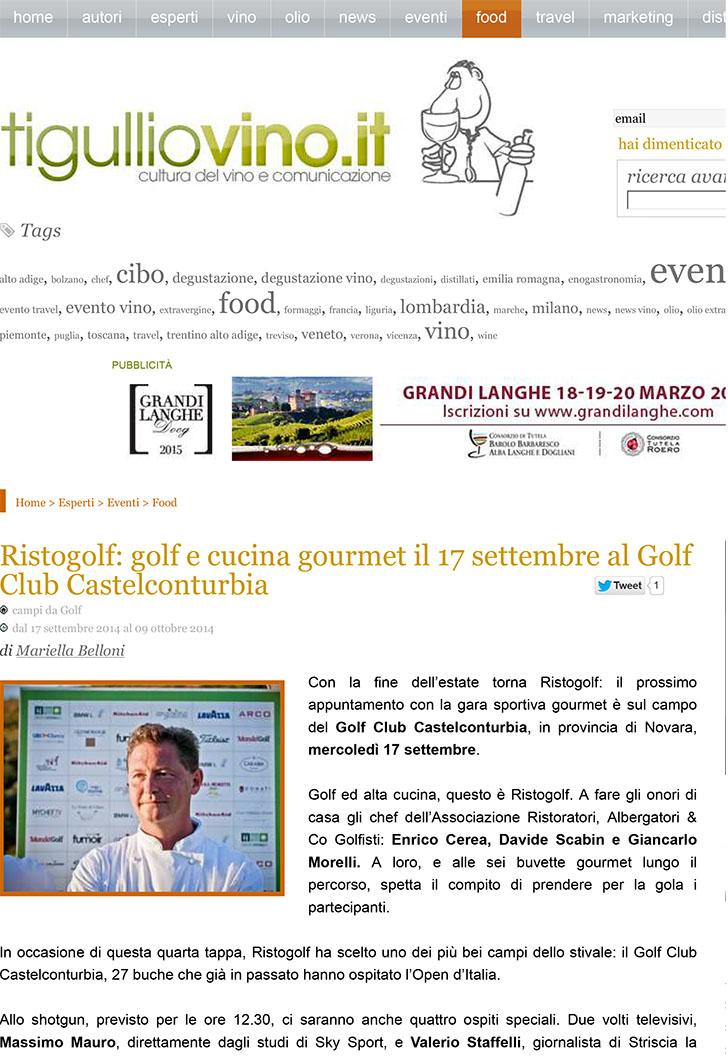 Ristogolf: golf e cucina gourmet il 17 settembre al Golf Club Ca