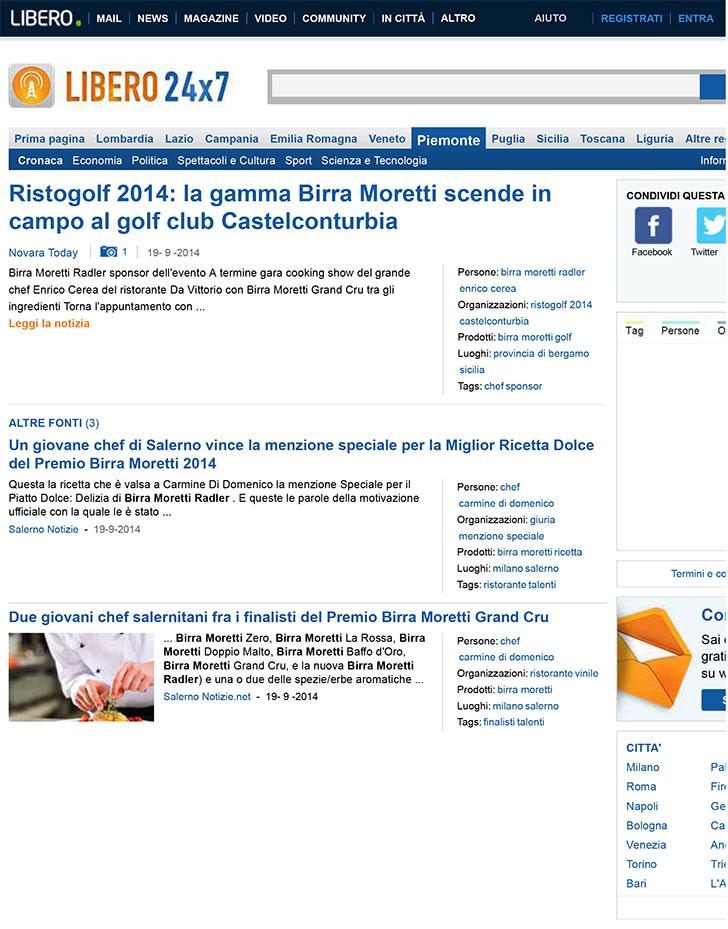 Ristogolf 2014: la gamma Birra Moretti scende in campo al golf c