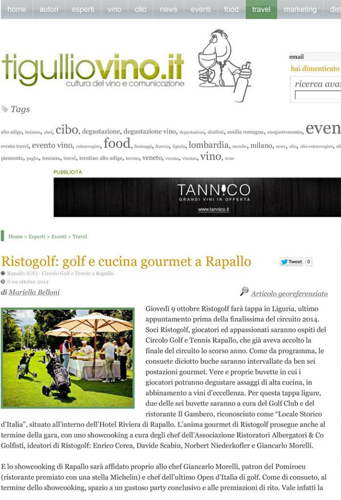 Ristogolf: golf e cucina gourmet a Rapallo, di Mariella Belloni