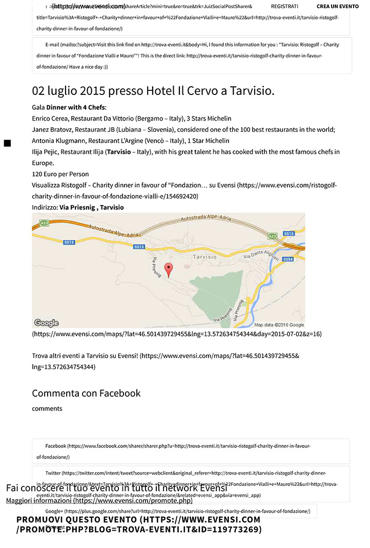 """Tarvisio: Ristogolf - Charity dinner in favour of """"Fondazione Vi"""
