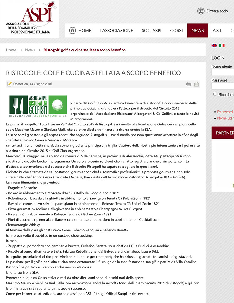 Ristogolf: golf e cucina stellata a scopo benefico