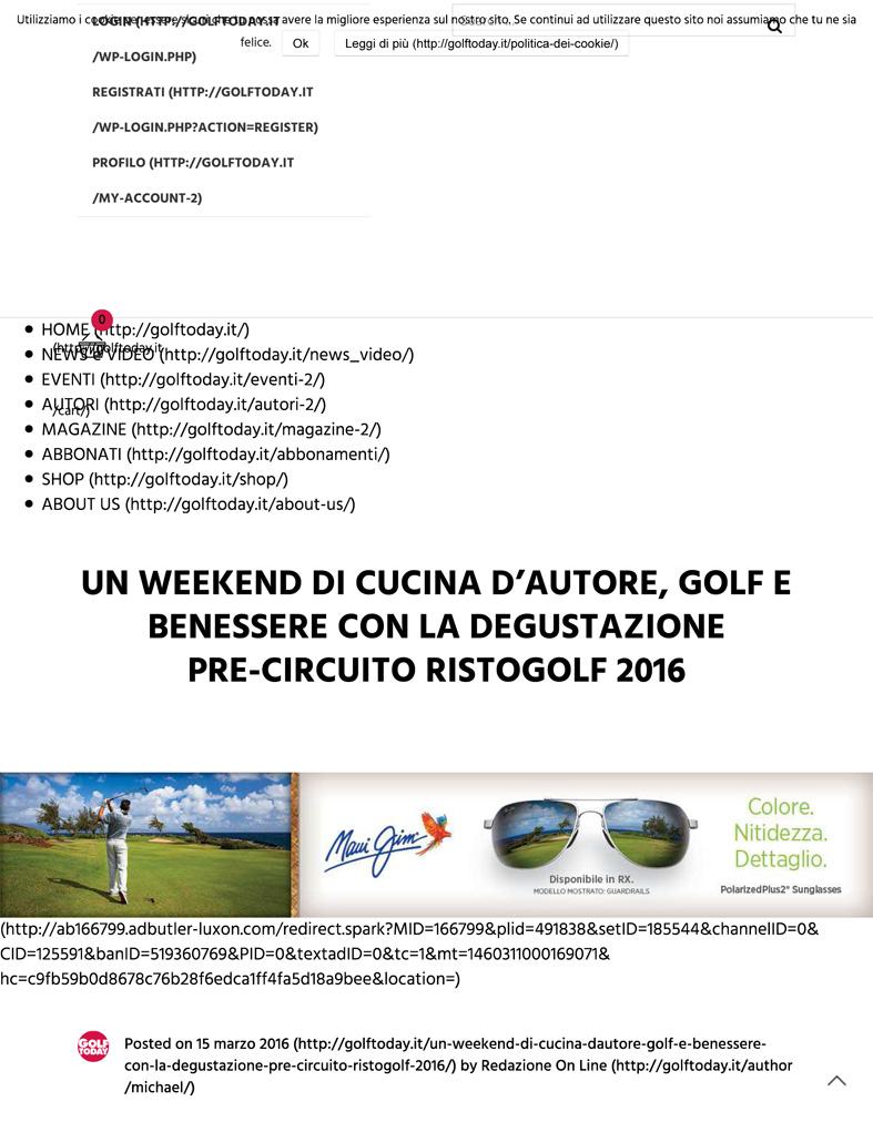 Un Weekend Di Cucina D'Autore, Golf E Benessere Con La Degusta
