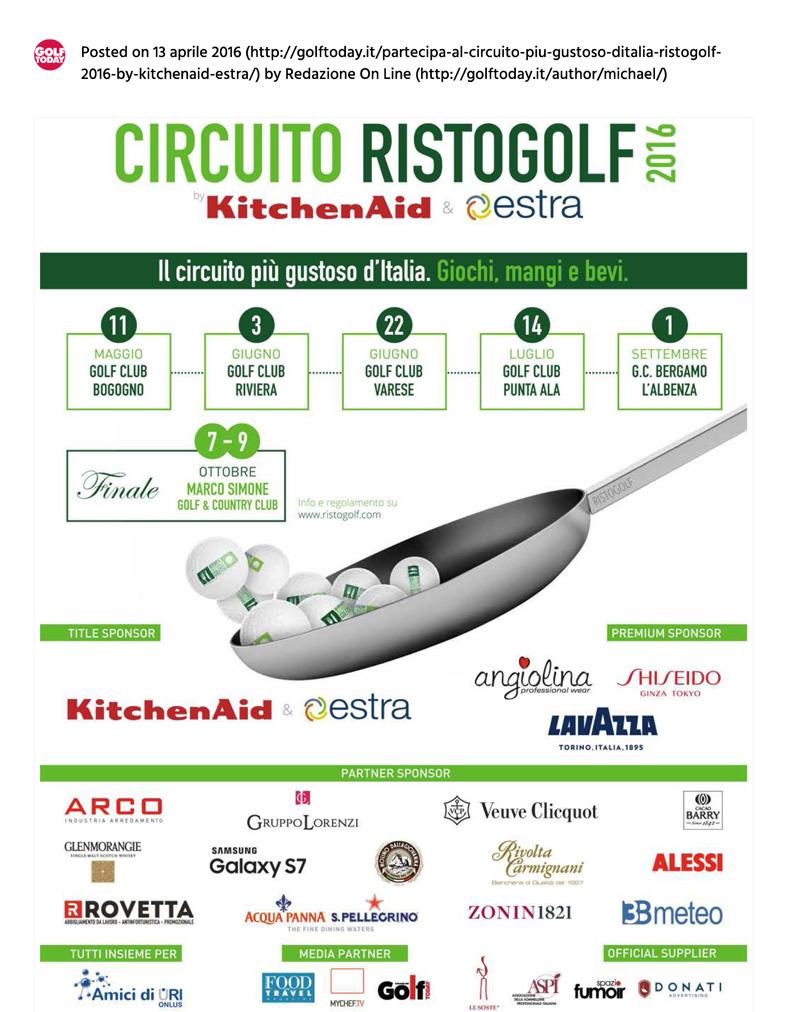 Partecipa al circuito piu' gustoso d'Italia: Ristogolf 2016